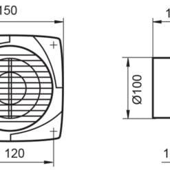 Badlüfter WK100 Kunststoff weiß für Ø100 mm