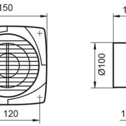 Badlüfter WK100N mit Nachlauf Kunststoff weiß für Ø100 mm