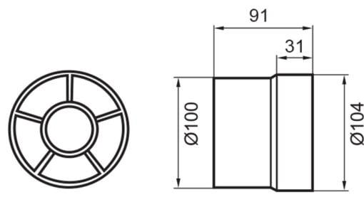 Cylinder Rohreinschubventilator Ø100mm – weiß
