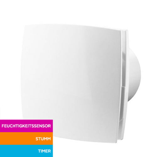 Silent Badlüfter Ø125mm mit Feuchtigkeitssensor und Nachlauf – weiß