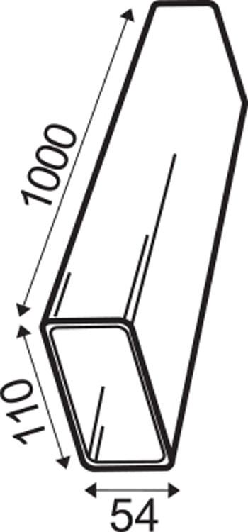 Lüftungs-Flachkanal Kunststoff weiß 110×54 mm x 1000 mm