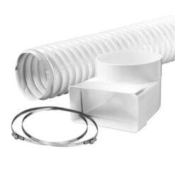 Übergangswinkel 90º mit Flexschlauch, weiß 110×54 mm x Ø100 mm x 500 mm