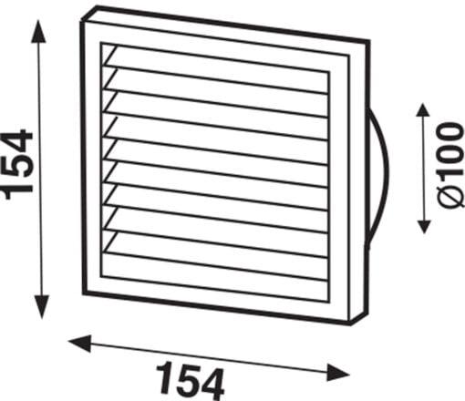 Lüftungsgitter mit Rückstauklappe und Fliegengaze, weiß 154×154 mm für Ø100 mm