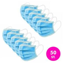 Gesichtsmaske 3-lagig mit Gummibindern – 50 Pack